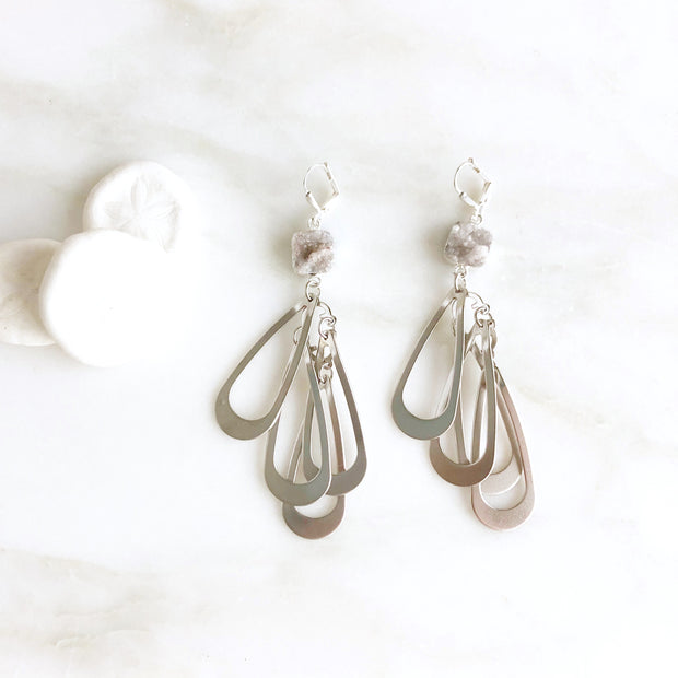Silver Multiple Teardrop Statement Earrings with Grey White Druzy Stones