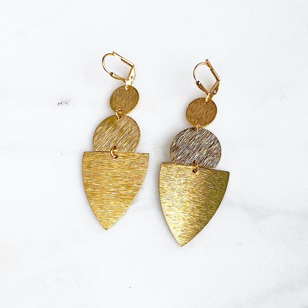Geometric Statement Earrings in Brushed Gold. Long Gold Earrings