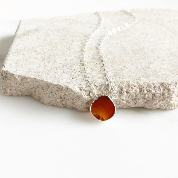 Carnelian Gemstone Slice Pendant Necklace in Silver. Layering Stone Necklace