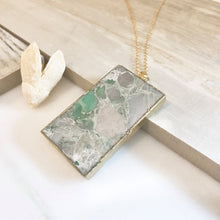 Load image into Gallery viewer, Long Gold Aqua Stone Necklace. Layering Necklace. Aqua Jasper Rectangle Stone Necklace. Long Bar Necklace. Boho Jewelry. Pendant. Gift.