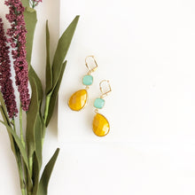 Load image into Gallery viewer, Mustard Yellow and Aqua Glass Drop Earrings in Gold. Bridal Earrings. Bridesmaids Gift.