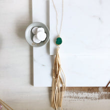 Load image into Gallery viewer, Boho Tassel Necklace. Cream Tassel Necklace and Green Solar Quartz. Long Necklace. Boho Style.