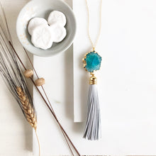 Load image into Gallery viewer, Teal Solar Quartz and White Leather Tassel Necklace. Long Tassel Necklace Gold. Long Boho Necklace.