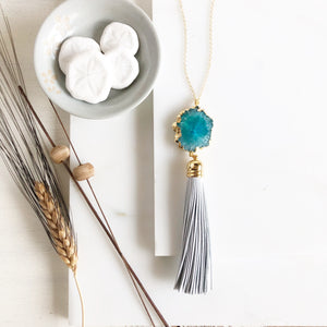 Teal Solar Quartz and White Leather Tassel Necklace. Long Tassel Necklace Gold. Long Boho Necklace.