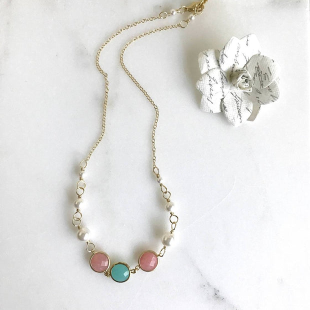 Bridesmaid Jewelry Coral Pink and Turquoise Jewel and White Pearl Statement Fashion Necklace. Wedding Jewelry. Bridal Party Jewelry.