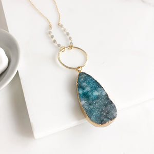 Long Teal Druzy Teardrop and Circle Necklace with Labradorite Beaded Chain in Gold