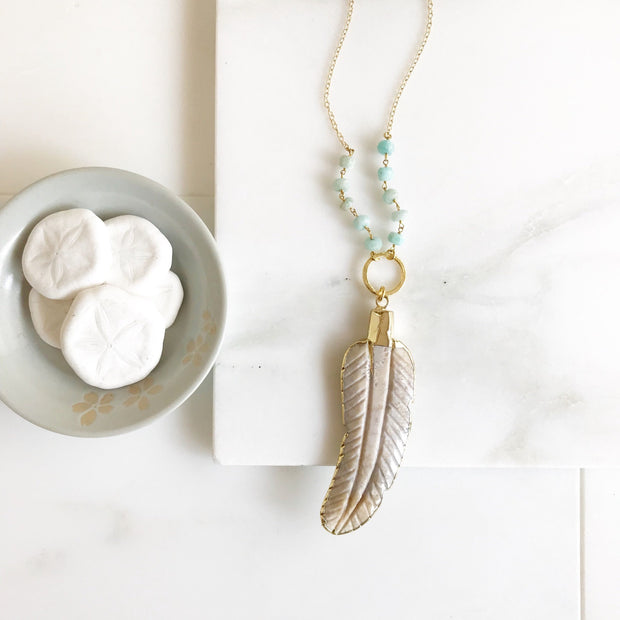 Long Leather Beaded Necklace. Long Ivory Stone Leaf Necklace