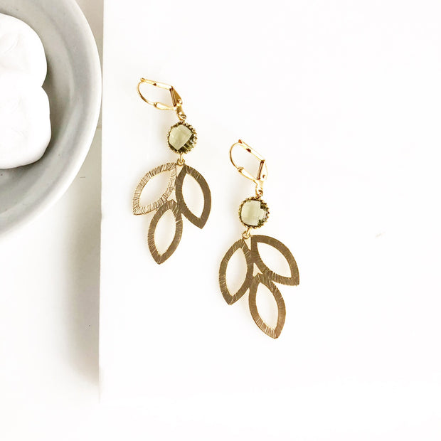 Gold Marquise Leaf and Olive Stone Dangle Earrings