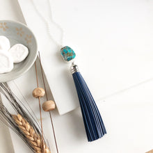 Load image into Gallery viewer, Navy Tassel with Blue Green Marbled Stone in Silver