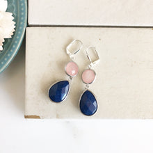 Load image into Gallery viewer, Navy Blue Stone and Coral Pink Dangle Earrings in Silver. Drop Earrings. Coral Navy Earrings. Bridesmaids Earrings. Wedding Earrings.