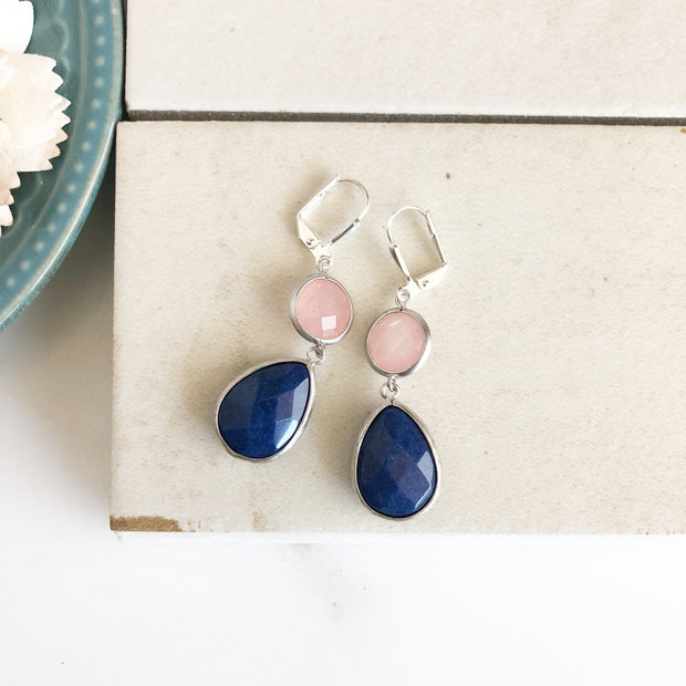 Navy Blue Stone and Coral Pink Dangle Earrings in Silver. Drop Earrings. Coral Navy Earrings. Bridesmaids Earrings. Wedding Earrings.