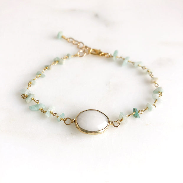 White Bezel Stone Bracelet with Amazonite Chip Beaded Chain