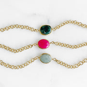 Oval Bezel Bracelets in Gold. Gold Chain Gemstone Bracelet