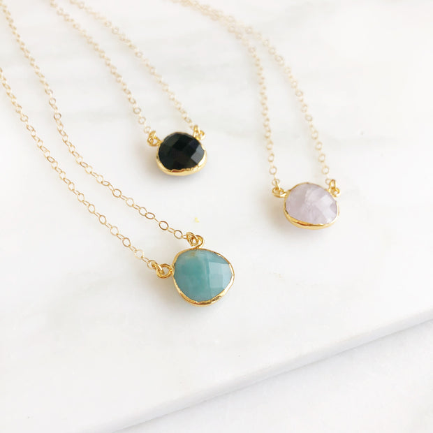 Water Drop Necklaces in Dark Amazonite, Black Onyx and Rose Quartz