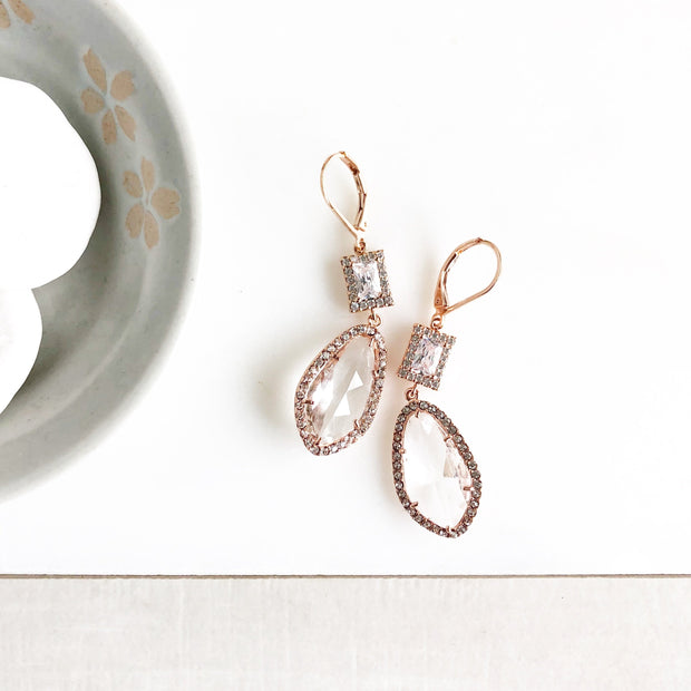 Rose Gold Wedding Earrings. Rose Gold Bridal Jewelry. Rose Gold Jewelry