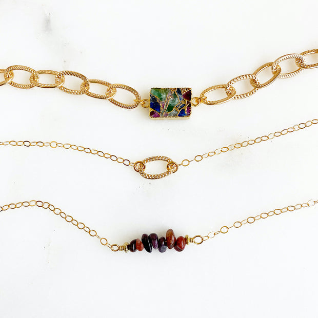 Multicolored Mojave Chain Bracelet Set in Gold. Ruby Bar Gold Charm Bracelet Stack