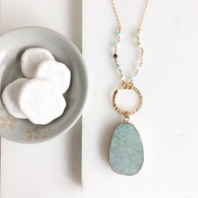 Load image into Gallery viewer, Long Amazonite Stone Necklace in Gold. Long Necklace. Pendant Necklace. Beaded Necklace. Boho Style