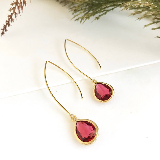 Ruby Red Teardrop Dangle Earrings. Red Drop Earrings