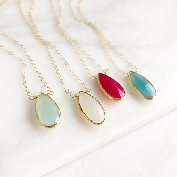 Chalcedony Teardrop Gemstone Necklace