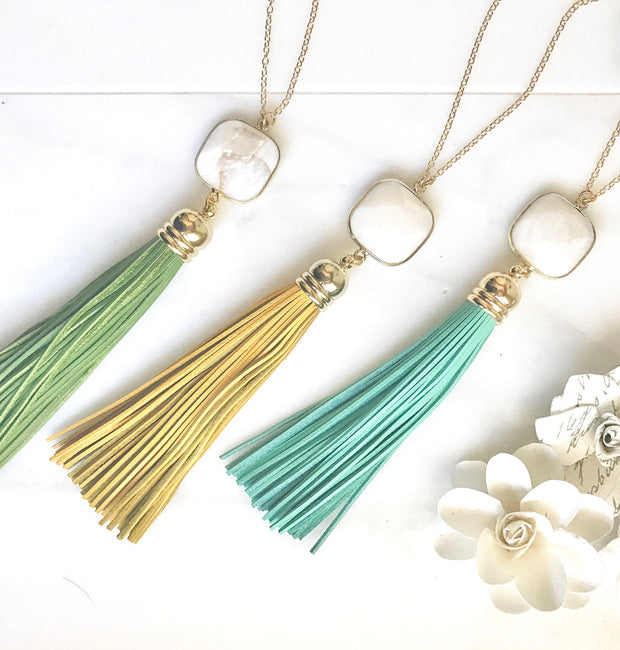 Long Leather Tassel Necklace. White Stone and Aqua Mustard or Green Tassel Necklace