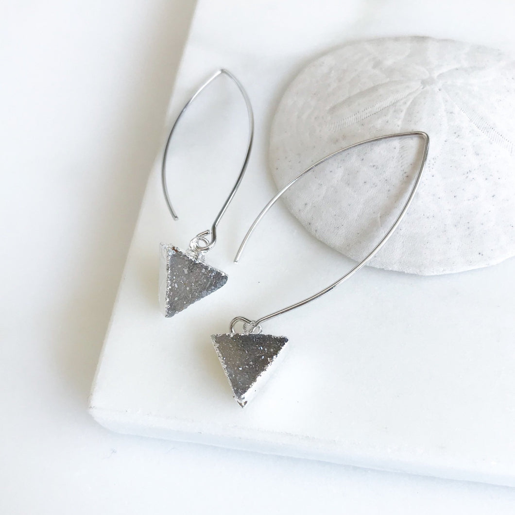 Druzy Triangle Hoop Earrings in Silver. Grey Tone Triangle Druzy Dangles. Silver Druzy Earrings. Dangle Earrings. Jewelry. Gift.