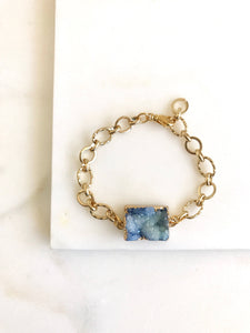 Chunky Druzy Bracelet in Gold. Blue Druzy Bracelet. Raw Crystal Bracelet. Statement Jewelry. Holiday Jewelry. Gift for Her.