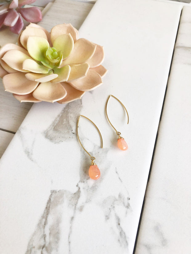 Long Gold Peach Drop Earrings. Orange Gold Teardrop Earrings. Marquise Earrings.