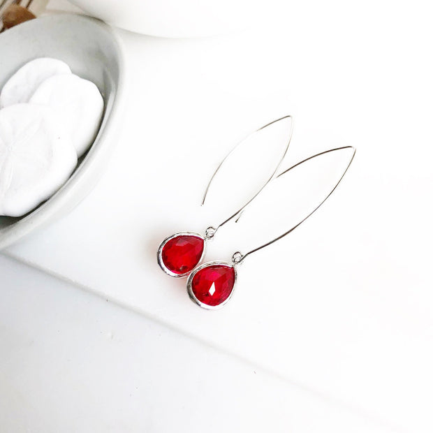 Red Drop Earrings in Silver. Red Glass Holiday Jewelry. Christmas Earrings
