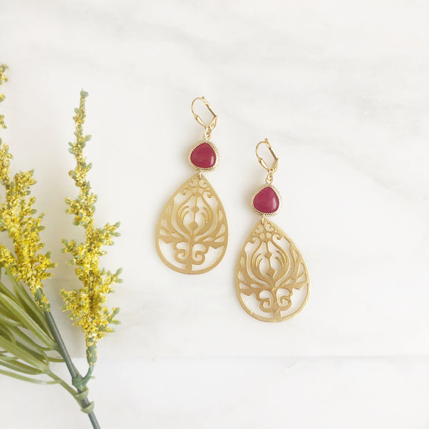 Gold Teardrop Earrings with Fuchsia Stones. Dangle Earrings