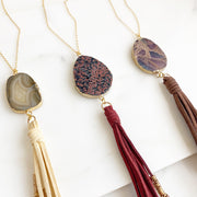 Long Boho Tassel Necklace with Stone. Gold Boho Jewelry