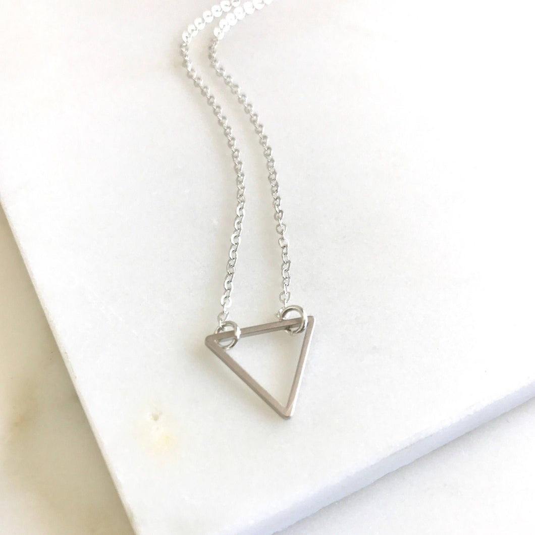 Layering Necklace. Silver Triangle Charm Layered Necklace. Simple Layering Necklace. Layered Necklace. Simple Silver Necklace. SMALL SIZE