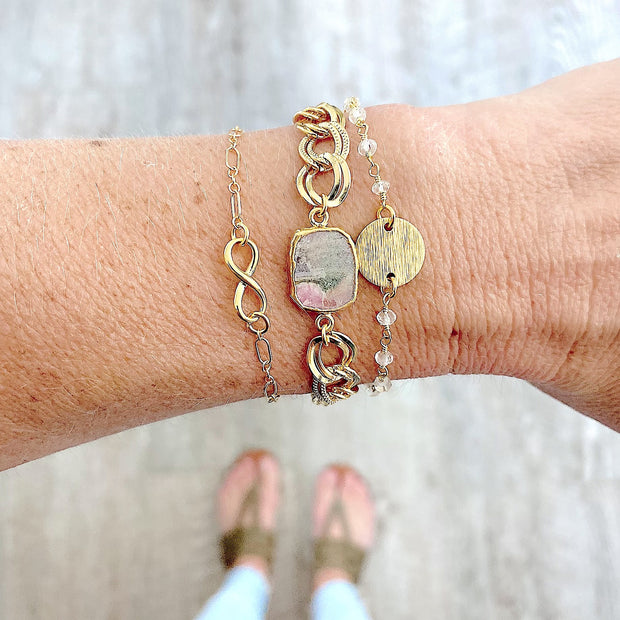 Gold Coin and Clear Crystal Beaded Bracelet in Gold. Dainty Gold Bracelet