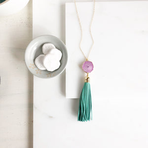 Tassel Necklace. Leather Tassel Necklace. Aqua Tassel and Pink Solar Quartz Necklace. Long Necklace