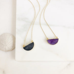 Purple or Black Crescent Moon Druzy Necklace. Everyday Boho Necklace. Dainty Gold Necklace. Layering Necklace. Jewerly Gift for Her.