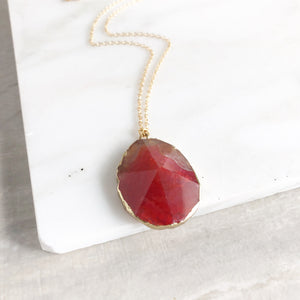 Red Stone Statement Necklace in Gold.