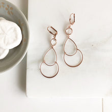 Load image into Gallery viewer, Long Rose Gold Earrings with Clear Stones. Eose Gold Earrings.