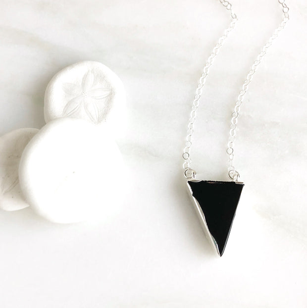 Black Triangle Necklace in Sterling Silver