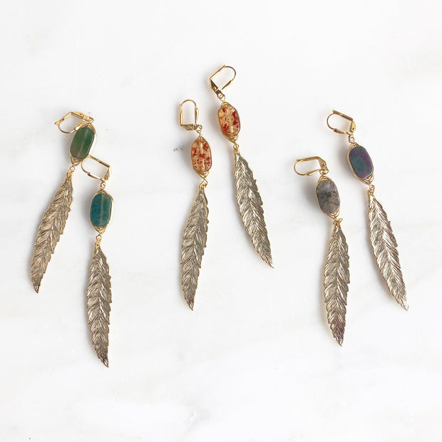 Boho Feather Earrings in Golden Fall Colors. Long Gold Feather Earrings. Boho Earrings