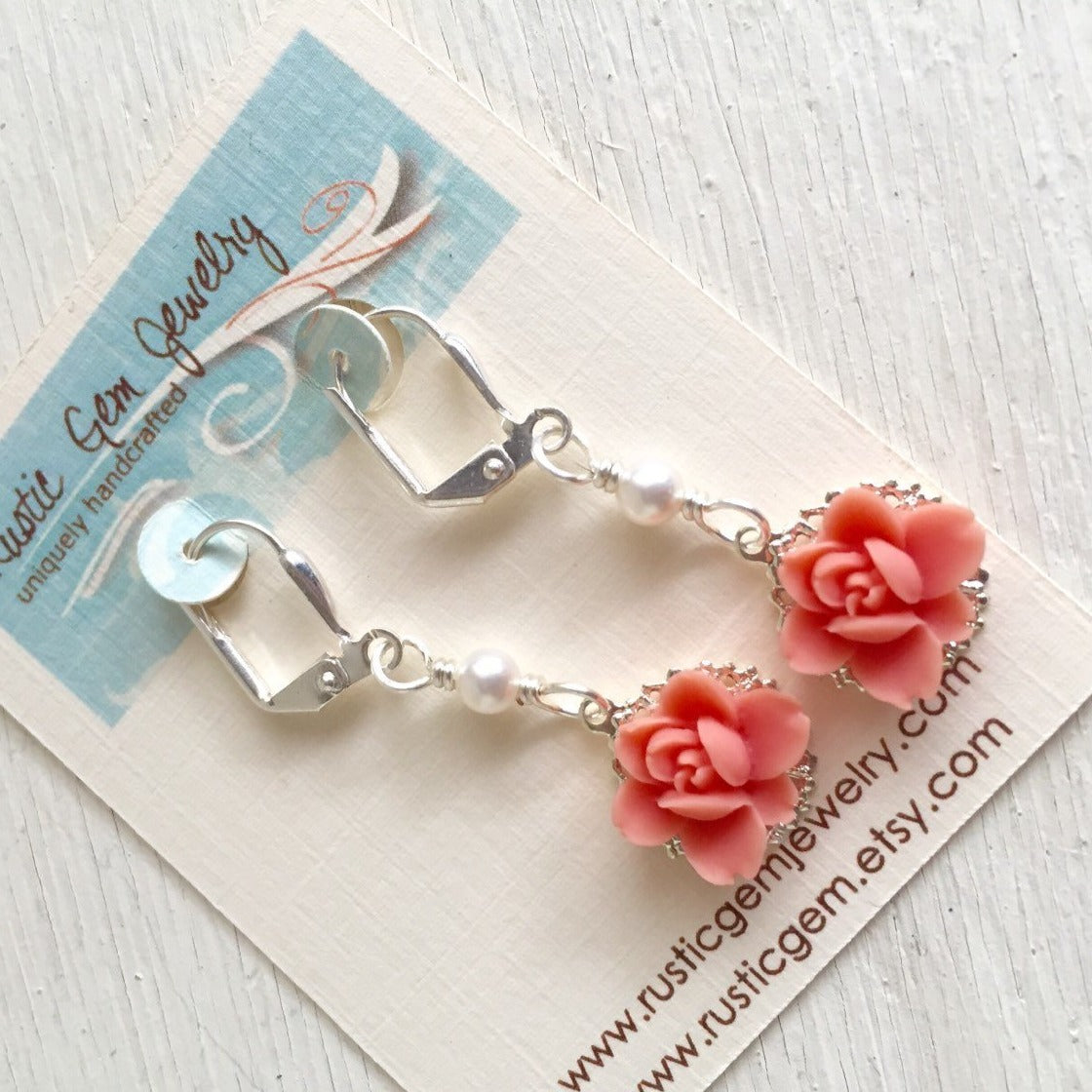 SALE - Sweet Coral Lotus Flower Bridesmaid Earrings and Small White Swarovski Pearl Dangle Earrings Jewelry Gift for Her.