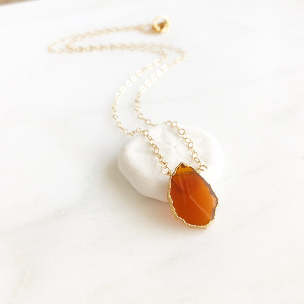 Gemstone Slice Pendant Necklace. Red Onyx Necklace, Christmas Necklace. Holiday Gift. Layering.
