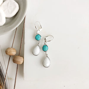 SALE White and Turquoise Drop Earrings in Silver.