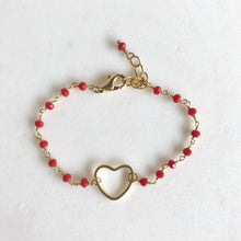Load image into Gallery viewer, Red Heart Beaded Bracelet in Gold. Beaded Bracelet. Gemstone Bracelet. Beaded Bracelet. Gift. Valentines Day Gift.