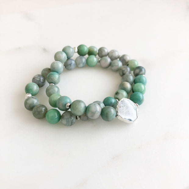 Set of 2 Stretchy Beaded Bracelets with Tree Agate stone and Green Agate in Silver