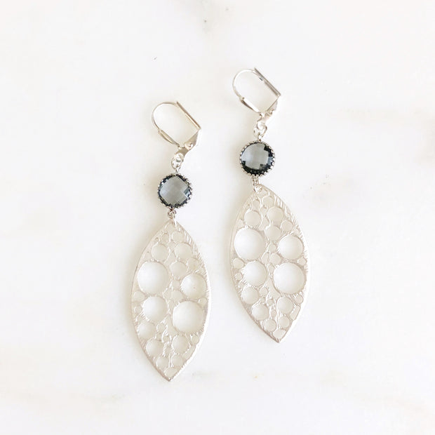 Silver Statement Earrings with Charcoal Grey Stones