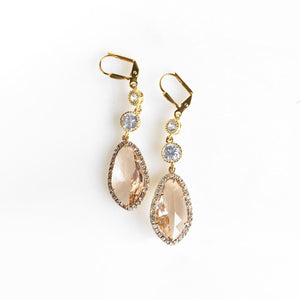 Fancy Gold Wedding Earrings in Champagne and Cubic Zirconia. Bridal Jewelry.