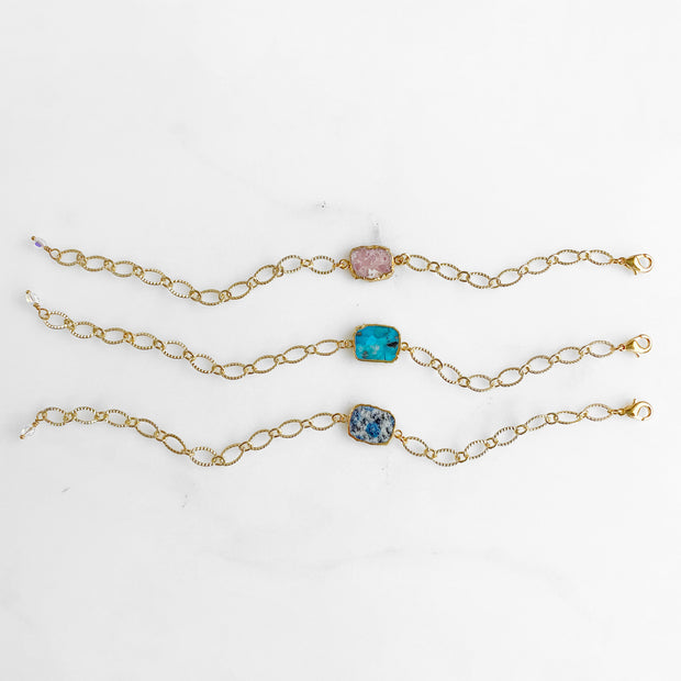 Freeform Gemstone Slice Bracelet with Chunky Gold Chain. Simple Gold Bracelet