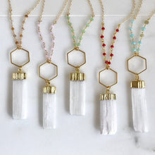 Load image into Gallery viewer, Long Boho Crystal Necklace in Red, Green, Pink, Blue and Gold. Selenite Stone Healing Necklace. Crystal Beaded Chain Bohemian Necklace. Gift