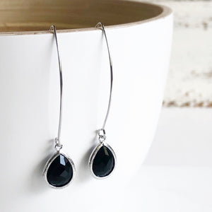Black Dangle Earrings in Silver. Christmas Gift. Holiday Jewelry. Stocking Stuffers. Drop Earrings.