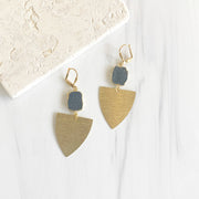 Black Druzy Shield Earrings in Gold and Brushed Brass. Black and Gold Geometric Dangle Earrings with Druzy