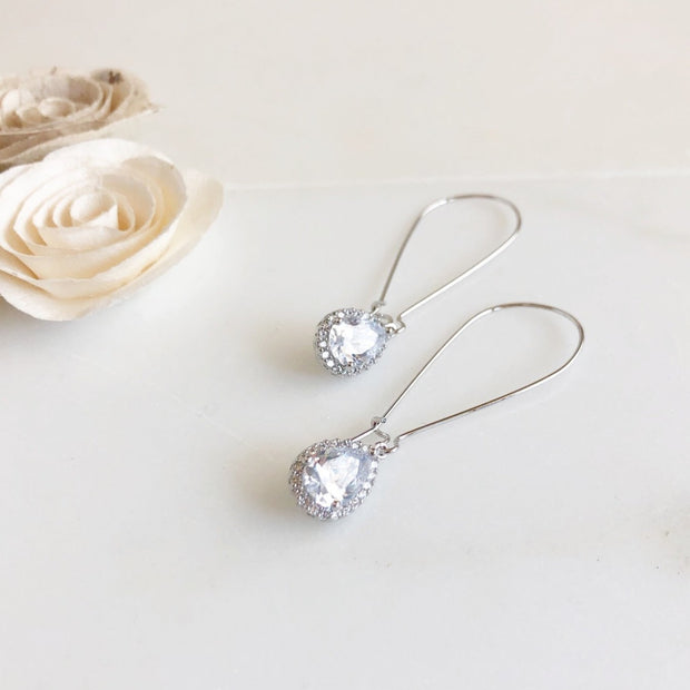 Large Simple Silver Bridal Drop Earrings. Cubic Zirconia Drop Dangle Earrings